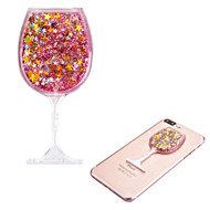 Adhesive Quicksand Glitter Sticker - Wine Glass Pink
