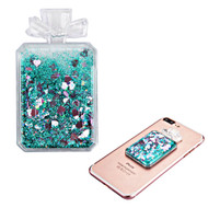 Adhesive Quicksand Glitter Sticker - Perfume Bottle Teal