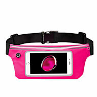 Sports Activity Fanny Waist Pack Pocket Belt with Clear Touchable Window - Hot Pink