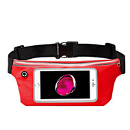 Sports Activity Fanny Waist Pack Pocket Belt with Clear Touchable Window - Red