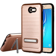 Brushed Multi-Layer Hybrid Armor Case with Kickstand for Samsung Galaxy J7 (2017) / J7 V / J7 Perx - Rose Gold
