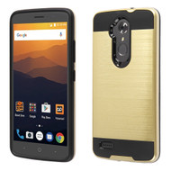 Brushed Hybrid Armor Case for ZTE Max XL - Gold