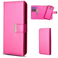 2-IN-1 Premium Tri-Fold Leather Wallet with Removable Magnetic Case for Samsung Galaxy S8 Plus - Hot Pink