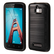 Brushed Multi-Layer Hybrid Armor Case for Coolpad Defiant - Black