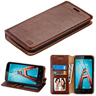 Book-Style Leather Folio Case for Coolpad Defiant - Brown