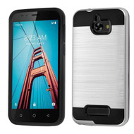 Brushed Hybrid Armor Case for Coolpad Defiant - Silver