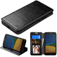 Book-Style Leather Folio Case for Motorola Moto E4 / G5 - Black
