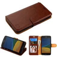 Book-Style Leather Folio Case for Motorola Moto E4 / G5 - Brown