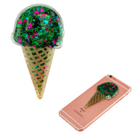 Adhesive Quicksand Glitter Sticker - Ice Cream Green