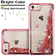 Confetti Quicksand Glitter Electroplating Transparent Case for iPhone 8 / 7 / 6S / 6 - Rose Gold