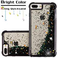Confetti Quicksand Glitter Electroplating Transparent Case for iPhone 8 Plus / 7 Plus / 6S Plus / 6 Plus - Black