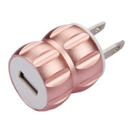 Metal Alloy 1A Single USB Travel Wall Charger - Rose Gold