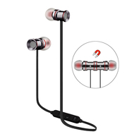 Magnetic Earbuds Bluetooth 4.1 Wireless Aluminum Alloy Headphones - Silver Black