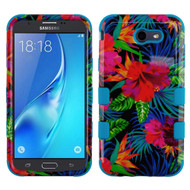 Military Grade Certified TUFF Image Hybrid Armor Case for Samsung Galaxy J7 (2017) / J7 V / J7 Perx - Electric Hibiscus