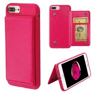 Pocket Wallet Case with Stand for iPhone 8 Plus / 7 Plus / 6S Plus / 6 Plus - Hot Pink