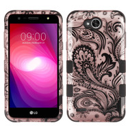 Military Grade Certified TUFF Image Hybrid Armor Case for LG X Power 2 / Fiesta - Phoenix Flower Rose Gold