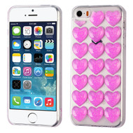 3D Heart Candy Case for iPhone SE / 5S / 5 - Hot Pink