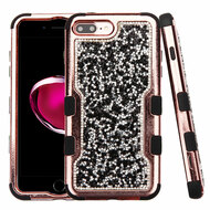 TUFF Vivid Mini Crystals Hybrid Armor Case for iPhone 8 Plus / 7 Plus - Black Rose Gold