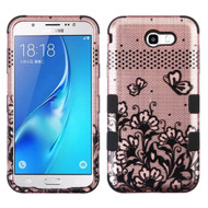 Military Grade TUFF Image Hybrid Armor Case for Samsung Galaxy J7 (2017) / J7 V / J7 Perx - Lace Flowers Rose Gold