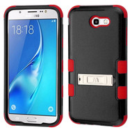 Military Grade Certified TUFF Hybrid Armor Case with Stand for Samsung Galaxy J7 (2017) / J7 V / J7 Perx - Black Red