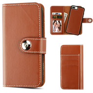 2-IN-1 Premium Leather Wallet with Removable Magnetic Case for iPhone 8 Plus / 7 Plus / 6S Plus / 6 Plus - Brown
