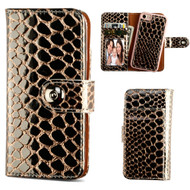 2-IN-1 Premium Leather Wallet with Removable Magnetic Case for iPhone 8 / 7 - Crocodile