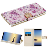 Luxury Bling Portfolio Leather Wallet Case for Samsung Galaxy Note 8 - Purple Flowers