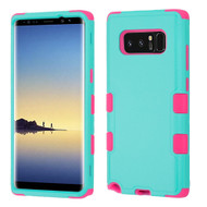 Military Grade Certified TUFF Hybrid Armor Case for Samsung Galaxy Note 8 - Teal Green Hot Pink