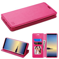 Book-Style Leather Folio Case for Samsung Galaxy Note 8 - Hot Pink