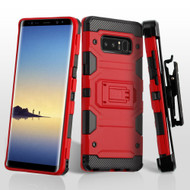 Military Grade Certified Storm Tank Hybrid Case with Holster and Screen Protector for Samsung Galaxy Note 8 - Red
