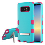 Military Grade Certified TUFF Hybrid Armor Case with Stand for Samsung Galaxy Note 8 - Teal Green Hot Pink