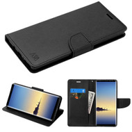Diary Leather Wallet Case for Samsung Galaxy Note 8 - Black