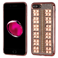 Desire Bling Bling Diamond Electroplated TPU Case for iPhone 8 Plus / 7 Plus - Square Rose Gold