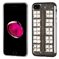 Desire Bling Bling Diamond Electroplated TPU Case for iPhone 8 Plus / 7 Plus - Square Silver