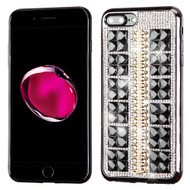 Desire Bling Bling Diamond Electroplated TPU Case for iPhone 8 Plus / 7 Plus - Square Black