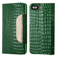 Luxury Embossed Crocodile Patent Leather Wallet Case for iPhone 8 Plus / 7 Plus - Green