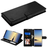 Book-Style Leather Folio Case for Samsung Galaxy Note 8 - Black