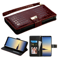 Crocodile Embossed Leather Wallet Case for Samsung Galaxy Note 8 - Burgundy