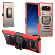 Advanced Armor Hybrid Kickstand Case with Holster Belt Clip for Samsung Galaxy Note 8 - Black Red