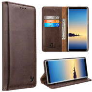 2-IN-1 Luxury Magnetic Leather Wallet Case for Samsung Galaxy Note 8 - Brown