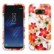 Military Grade Certified TUFF Image Hybrid Armor Case for Samsung Galaxy S8 Plus - Orange Hibiscus Flower Romance