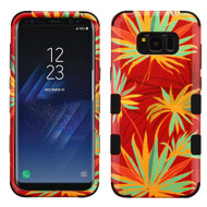 Military Grade Certified TUFF Image Hybrid Armor Case for Samsung Galaxy S8 Plus - Red Palm Paradise