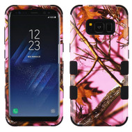 Military Grade Certified TUFF Image Hybrid Armor Case for Samsung Galaxy S8 Plus - Pink Oak Hunting Camouflage