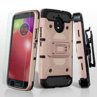 3-IN-1 Kinetic Hybrid Armor Case with Holster and Tempered Glass Screen Protector for Motorola Moto E4 - Rose Gold