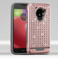 Luxury Bling Diamond Hybrid Case for Motorola Moto E4 - Rose Gold