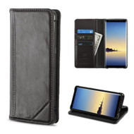 Mybat Genuine Leather Wallet Case for Samsung Galaxy Note 8 - Black