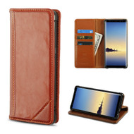Mybat Genuine Leather Wallet Case for Samsung Galaxy Note 8 - Brown