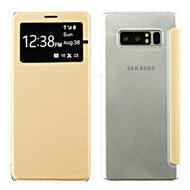 Book-Style Hybrid Flip Case with Window Display for Samsung Galaxy Note 8 - Gold