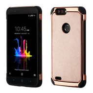 Electroplated Tough Anti-Shock Hybrid Case with Leather Backing for ZTE Blade Z Max - Rose Gold