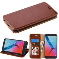 Book-Style Leather Folio Case for ZTE Blade Z Max - Brown